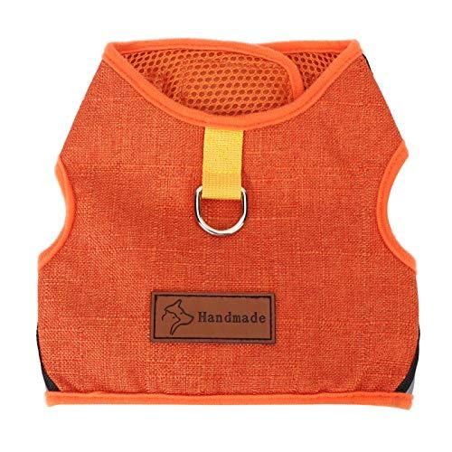 SALUTUYA Tragebeständig, Pet Traction Rope Set mit Gurt, atmungsaktivem Mesh-Gurt, Zugseil-Brustgurt(Orange, L)