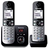 Panasonic KX-TG6822ALB DECT Digital Cordless Phone with Answering System and 2 Handsets, Black