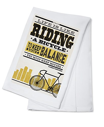 Life is Like Riding a Bicycle - Screenprint Style - Albert Einstein (High) (100% Cotton Kitchen Towel)