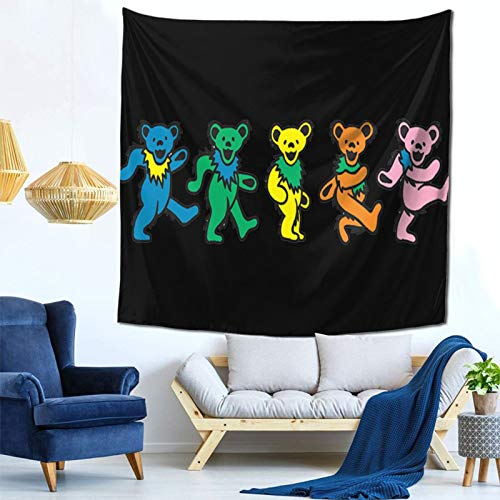 Unique-1 Happy Grate-ful Dead Dancing Bear Art Tapestry Wall Hanging Decoration for Bedroom Dorm Living Room Home Blanket Picnic Mat 59
