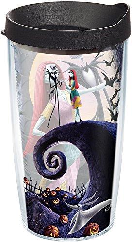 Tervis Copo com tampa, Jack Skellington e Sally recebem as festas neste design de O Estranho Mundo de Jack, da Disney que evita que suas bebidas fiquem todas as Oogie Boogie, preto