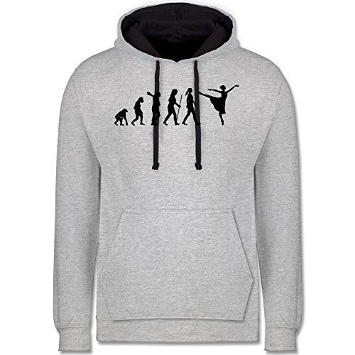 Shirtracer Evolution - Ballett Evolution Arabesque - XS - Grau meliert/Navy Blau - AFFE - JH003 - Hoodie zweifarbig und Kapuzenpullover für Herren und Damen