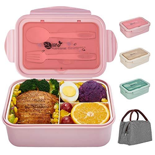 SHAKNIFE Bento Box für Kinder Erwachsene, 1400ML Luftdichte Lunchbox mit Lunchtasche Löffel Gabel, BPA-Freie und Lebensmittelechte Brotdose mit 3 Fächern (Rosa)