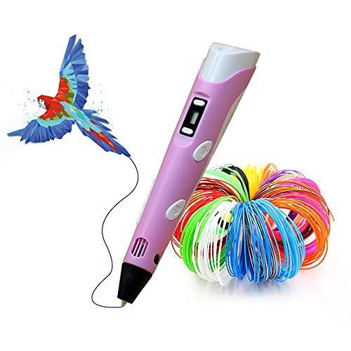 LIHUACHEN penna 3d con PLA 27 colori – Set di penne 3D per bambini con filamento PLA da 265 piedi, penna 3D come regalo creativo per adulti, appassionati di scarabocchiare, fai da te e premere 3D-rosa
