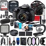 Canon EOS 800D (Rebel T7i) DSLR Camera with 18-55mm STM Lens Photo-Video Creator Bundle + Premium Bundle Including 64GB Memory, Microphone, LED Light, Stabilization Grip, Software Package, Bag & More
