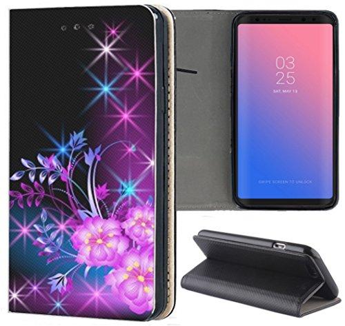 Handyhülle für Samsung Galaxy A3 2016 Premium Smart Einseitig Flipcover Flip Case Hülle Samsung A3 2016 Motiv (291 Blumen Pink Blau Schwarz)