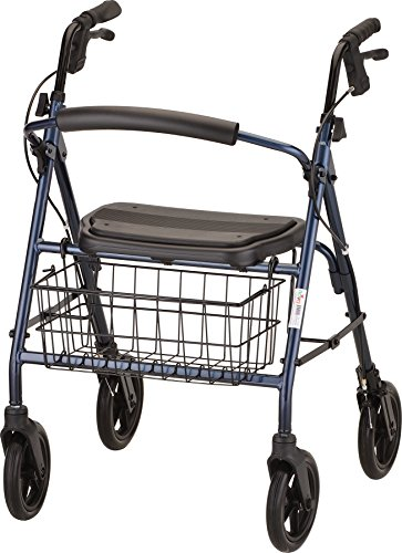 """NOVA Medical Products Mack Bariatric Rollator Walker, 400 lb Weight Capacity, Heavy Duty with Extra Wide Seat, 23"""" Seat Height, Blue"""