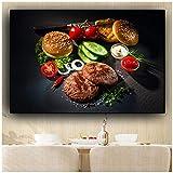 Gemüse Fleisch Messer und Gabel Küche Leinwand Malerei