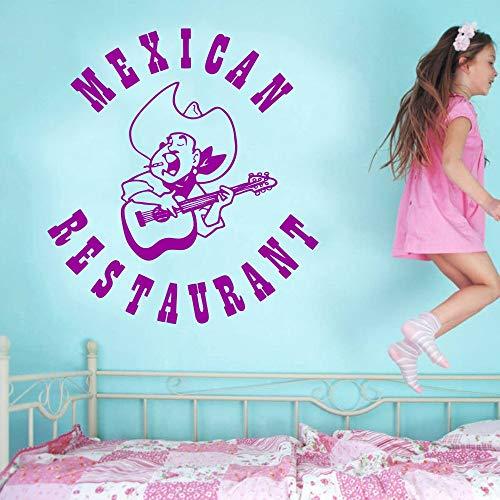 keletop Mexikanisches Restaurant Logo Wandaufkleber Volksmusik Strohhut Gitarre Design Wandtattoo Mexikanisches Essen Familiendekoration Wandmalerei 39x42cm