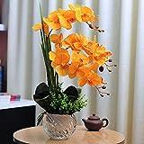 ADSE Composizione di Fiori Artificiali Orchidea Phalaenopsis, Orchidee in PU Finto con Vaso di Vetro, Decorazione centrotavola per Tavolo da Pranzo per Feste di Matrimonio
