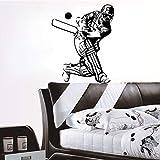 tzxdbh Nouveau Joueur de Cricket déco Vinyle Accessoires Amovibles du Mur du Salon Autocollant de décoration