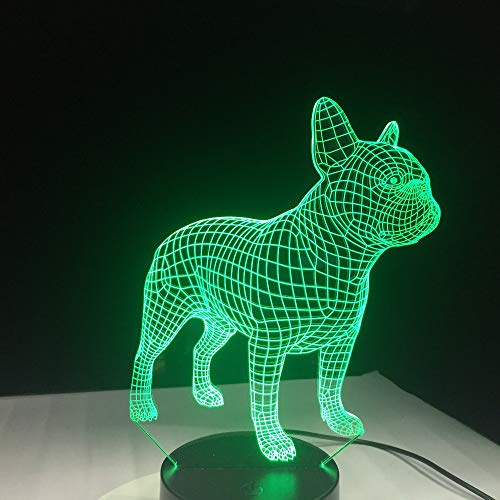 jiushixw 3D acryl nachtlampje met afstandsbediening van kleur veranderende lamp schattige Franse bulldog kind geschenk kind nachtkastje lamp ingebed vintage