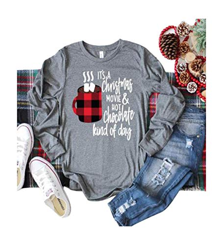 It's A Christmas Movie and Hot Chocolate Kind of Day T Shirt Womens Baseball Tee Shirt Casual Tops Size L (Grey)