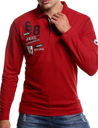 COOFANDY Herren Poloshirt Langarm Polo Kragen mit Stickerei Casual Meliert Slim Fit Freizeit Party Polohemd für Männer