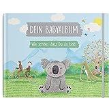 TWIVEE - Babyalbum - Babybuch zum Eintragen - Mädchen und Jungen - Baby - Erinnerungsbuch für das erste Jahr - Koala Design