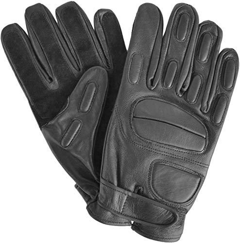 normani Security Lederhandschuhe mit Protektoren und schnitthemmender Kevlar Grifffläche Operator Farbe Black Größe L