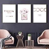 NOBRAND Abstract Canvas Painting Perfume Pink Peony Carteles e Impresiones Cotizaciones Botella de Perfume Pintura Cuadros de Pared para decoración de dormitorio-30x45cmx3p Sin Marco
