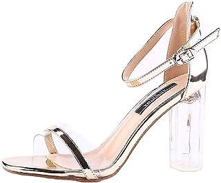 6565b365 Tacones Altos Gruesos con Sandalias De Moda para Mujer 2019 Verano Nuevos  Zapatos De Cristal Sexy