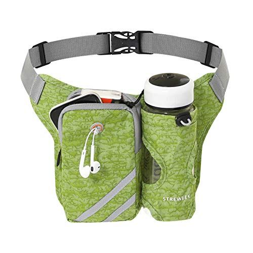 STREWEEK Lightweight Running Waist Packs Hydration Belt with Bottle Holder, No Bounce Running Fanny Pack, Running Belt Adjustable Size Suitable for Jogging, Cycling, Rraveling, Fitness, Hiking