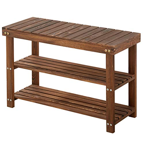 Shoe Bench, Solid Pine Wood Shoe Rack Bench, Holds Up to 300 Lbs, Shoe Rack Entryway, Shoe Organizer, 3 Tier, Rustic Grain
