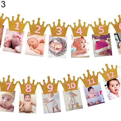 tianxiangjjeu kroonvorm maandelijks foto Banner 1-12 maanden slinger baby verjaardag partij decoratie 3#