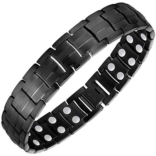 Jeracol Titanium Magnetic Bracelet Men Women Magnetic Therapy Bracelet for Anxiety Relief Arthritis Carpal Tunnel Bracelets with Double Magnet Strength Wristband Healthy Gifts Adjustable