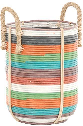 Panier décoratif au design rétro - Pour salle de bain - Panier de rangement pour jouets - Avec poignées en corde - En rotin naturel gris - Panier à bois - Avec anse de rangement