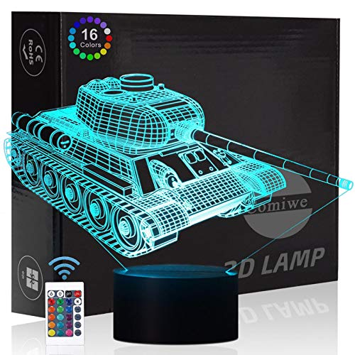 Comiwe Military Tank 3D Illusion Night Light Toys,16 Colors Change Smart Touch & Remote Control,Home Decor LED Bedside Table Desk Lamp,Christmas Birthday Gift for Boy Kids Adults Friends & Family
