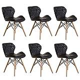 ZYXF 6 sillas Comedor nórdicas Retro Oficina Silla Lounge, Patas Madera PU Cuero Cómodo Asiento Acolchado Mariposa Tipo Respaldo (Color : Black)