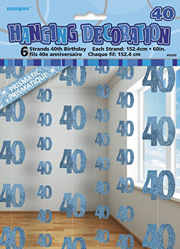5ft Hanging Glitz Blue 40th Birthday Decorations, Pack of 6