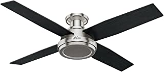 Hunter Indoor Low Profile Ceiling Fan, with remote control - Dempsey 52 inch, Brushed Nickel, 59247