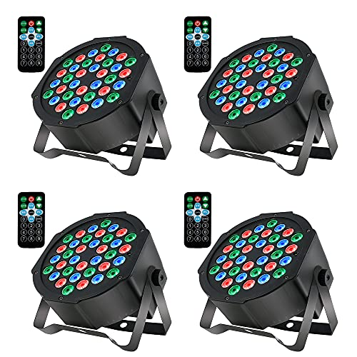 Willstar 4 Pack LED Par Lights, 36 LED RGB Party Stage Lighting Sound Activated Stage Lights 7 Light Modes with Remote and DMX Control for Wedding Party Concert Festival