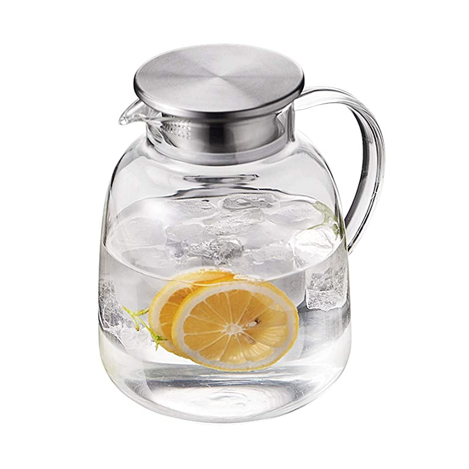 Teapots Coffee Servers Teapot Kettle Household Glass Heat-resistant Explosion-proof Glass Teapot High Temperature Filter Detachable Teapot Iced Coffee Maker (Color : Clear, Size : 1900ml)