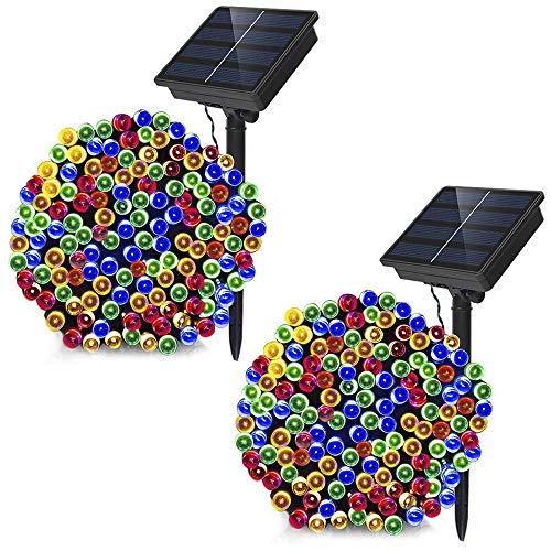 Dolucky Solar Christmas Lights, 72ft 200LED 8Modes Solar String Lights Outdoor, Waterproof Fairy Lights Christmas Decorative Lights for Fence Balcony Thanksgiving Christmas(Multicolor, 2 Pack)