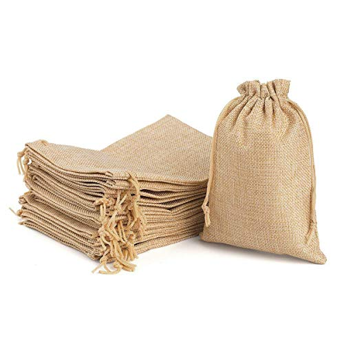Burlap Gift Bags with Drawstring 6.7 x 4.7 for Wedding Party Favors Craft Jute Sacks Project Christmas Presents Jewelry Pouches Pack 24 (Brown)