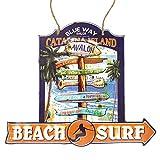 アメリカン ブリキ看板 Beach Surf 30×26cm(MD022) エンボス加工 凹凸 ティンサイン メタルサイン ビンテージ看板 ガレージ サーフ 雑貨 アメリカ 雑貨 店舗用 看板 西海岸風 インテリア アメリカン雑貨