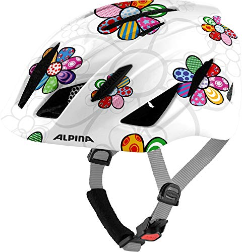 ALPINA Unisex - Kinder, PICO Fahrradhelm, pearlwhite-flower gloss, 50-55 cm