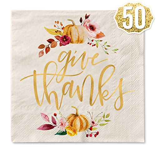 xo, Fetti Thanksgiving Gold Foil Napkins - 50 count | Give Thanks Decorations, 5 x 5 inches, 3ply, Autumn Leaves, Pumpkins, Fall Table Decor