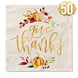 ✨Give Thanks! Our Thanksgiving napkins are the fall decor you've been looking for + a guaranteed hit at your turkey day celebration! ✨Napkins For The Whole Party: each set comes with 50 napkins measuring 5x5 inches and made of high-quality 3ply mater...