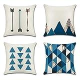 JOTOM Funda de Almohada para Cojín de Lino y Algodón para Sofa,Cama,Silla Decorativo 45 x 45 cm,Juego de 4 (Triángulo Azul)