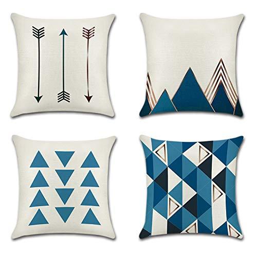JOTOM Funda de Almohada para Cojín de Lino y Poliéster para Sofa,Cama,Silla Decorativo 45 x 45 cm,Juego de 4 (Triángulo Azul)