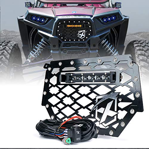 Xprite Black Steel Mesh Grille with 8' Inch Amber LED Light bar for 2014-2018 Polaris RZR 900 S & XP 1000