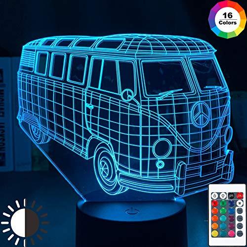 KangYD 3D Illusion Nachtlampe Spiel Peace Bus, LED Nachtlicht, Raumdekor, B - Remote Black Base (16 Farben), Geschenk für Jungen, Tischlampe, Hohe Qualität, Kunsthandwerk