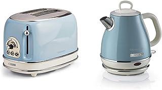 Ariete Vintage 155 Grille-Pain 2 Tranches, 810 Watts, 6 Niveaux & Vintage 2868 Bouilloire Électrique en Acier Inoxydable p...