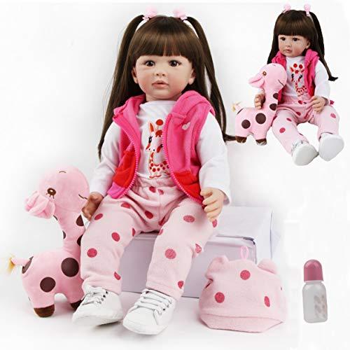 antboat Lebensechte 24 Zoll 60 cm Reborn Babypuppen Mädchen Weiches Silikon Vinyl Große Wiedergeborene Puppen Mit Viel Zubehör Baby Reborn