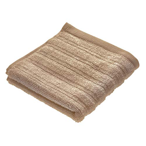 Price comparison product image iDesign Face Cloth,  Small Ribbed Cotton Hand Towel,  Soft Flannel Face Cloth for the Face and Hands or for the Shower and Bath,  Beige