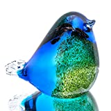 Qf Glass Bird Handmade Blown Glass Figurine Christmas, Birthday Gift Decorative Ornaments for Home Blue and Green Paper Weight