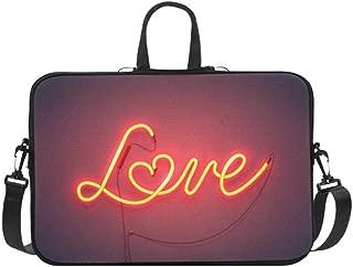 Neon Sign The Word Love with Heart On Dark Backgr Pattern Briefcase Laptop Bag Messenger Shoulder Work Bag Crossbody Handbag for Business Travelling