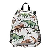 RELEESSS Mochila con patrón de dinosaurio para niños con correa en el pecho, mochila escolar para preescolar, mochila para niños y niñas