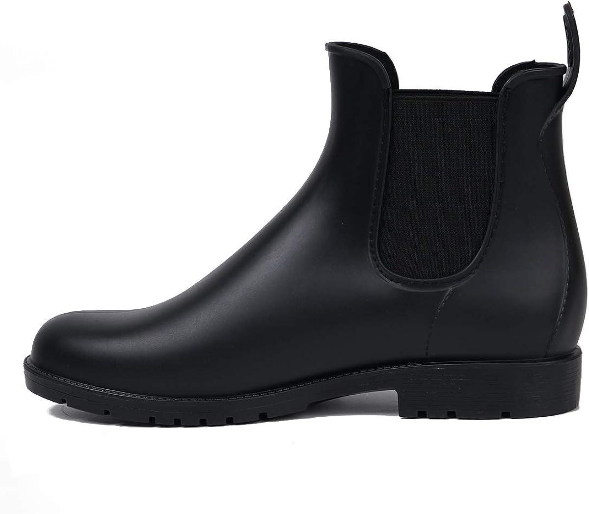 Safety and trust Women's Chelsea Genuine Rain Boots Waterproof siz Black Booties Ankle